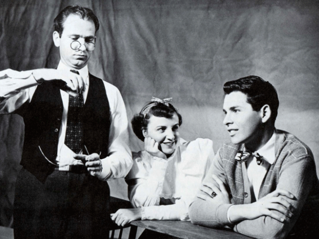 Clyde Nielsen, (left) one of the founding partners of Stockton Civic Theatre, appears in Thornton Wilder's OUR TOWN at Madison School in the Fall of 1950.