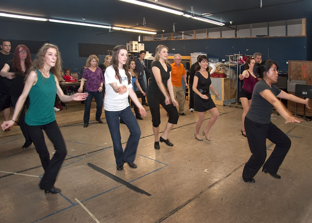 Choreographer Evelyn Barney leads dancers through audition in the SCT rehearsal hall